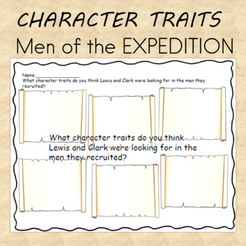 Lewis and Clark Expedition Character Traits Worksheet