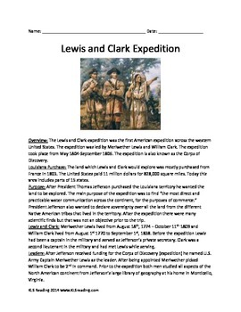 Lewis and Clark Expedition - Review Article Questions Vocab Activities 10 pages