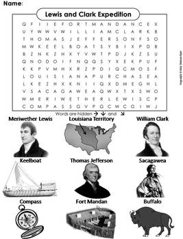 Lewis and Clark Expedition Worksheet/ Word Search