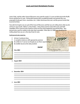 Lewis and Clark Expedition Worksheets