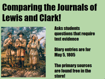 Lewis and Clark Journal Compare/Contrast Graphic Organizer