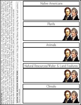 Lewis and Clark Interactive Notes Pages