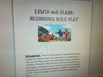 Lewis and Clark: Introductory Role Play For The First Few Days of the Expedition