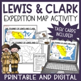 Lewis and Clark Map Activity and Task Cards