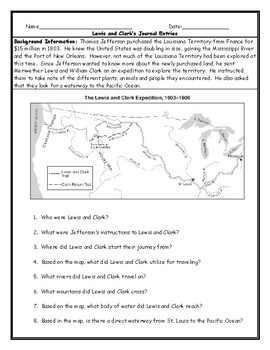 photo regarding Lewis Clark Printable Activities identified as Lewis And Clark Map Worksheets Instruction Components TpT