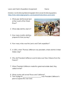 Lewis and Clark National Geographic Online Reading Assignment