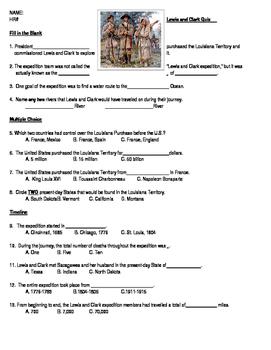 Lewis and Clark - Quick Quiz