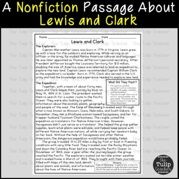 Lewis and Clark Reading Comprehension Paired Passages