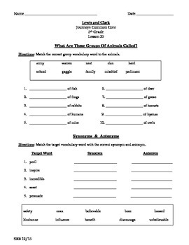 Journeys Common Core 5th- Lewis and Clark Supplemental Packet for the SLP