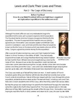 Lewis and Clark Biography Informational Texts Activities
