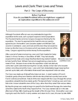 Lewis and Clark Explorers Biography Informational Texts Activities