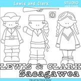 Lewis and Clark US History Line Drawings Clip Art  C. Seslar