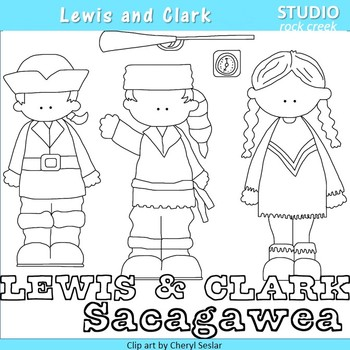 Lewis and Clark US History Line Drawings Clip Art  C. Seslar