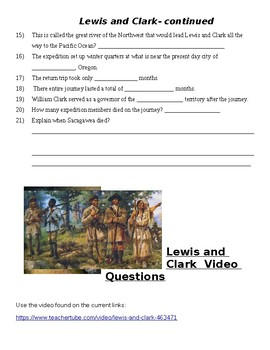 Lewis and Clark Video Guide Questions