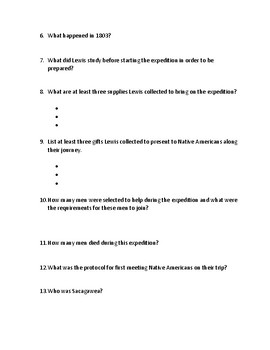 Lewis and Clark Webquest (With Answer Key!)