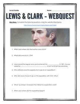 Lewis and Clark - Webquest with Key