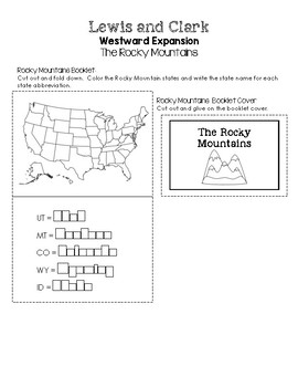 Lewis and Clark Westward Expansion Lapbooks - The Rocky Mountains Insert