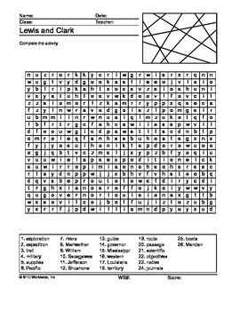 Lewis and Clark Word Search Printable