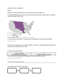 Lewis and Clark Worksheet