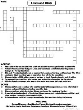Lewis and Clark Worksheet/ Crossword Puzzle