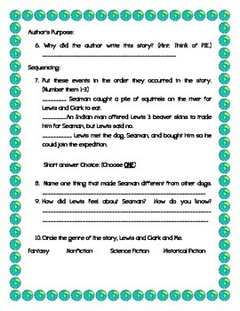 Lewis and Clark and Me KID FRIENDLY Reading Street Test FREEBIE