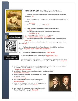 BYOD Assignment - Lewis and Clark video worksheet QR code link to Video