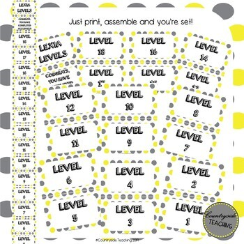 Lexia Levels Clip Chart, Lexia Core 5 Clip Chart, YELLOW & GRAY POLKA DOT THEME