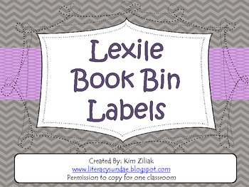 Lexile Book Bin Labels