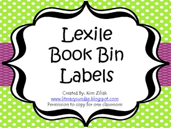 Lexile Book Bin Labels Green Polka Dot