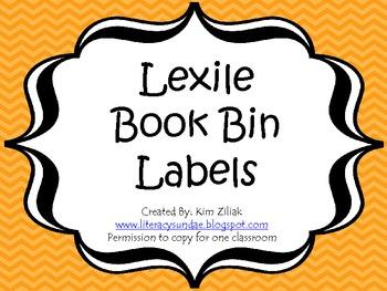 Lexile Book Bin Labels Orange Chevron