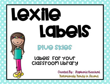 Blue Skies Lexile Labels for Classroom Library Book Bins