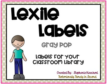 Gray Pop Lexile Labels for Classroom Library Book Bins