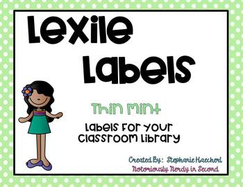 Thin Mint Lexile Labels for Classroom Library Book Bins