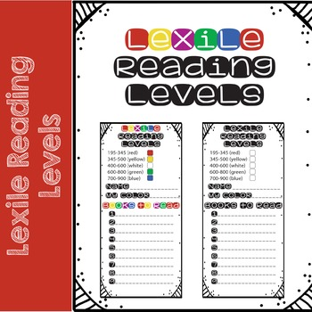 Lexile Reading Level Bookmarks