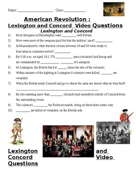 Lexington and Concord Video Guide Questions