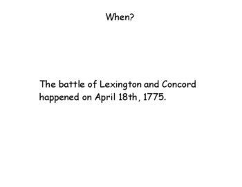 Lexington and Concord and Second Continental Congress Story