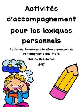 Lexiques personnels: Activités d'accompagnement
