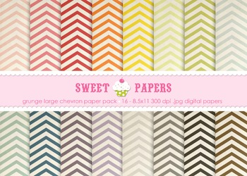 Lg Grunge Chevron Rainbow Colors Digital Paper Pack - by Sweet Papers