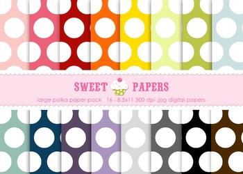 Lg Rainbow Polka Digital Paper Pack - by Sweet Papers