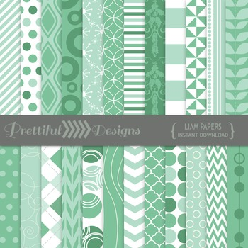 Liam Digital Paper Pack Teal Backgrounds and Patterns Commercial Use