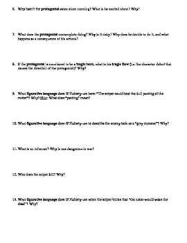 """Liam O'Flaherty's """"The Sniper"""" Anticipation Guide and Comprehension Questions"""