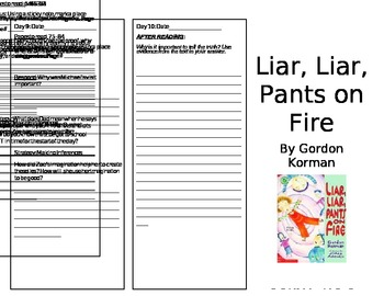 Liar, Liar, Pants on Fire (Level O) Reader Response Trifold (2 of 2)