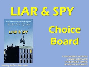Liar and Spy Choice Board Tic Tac Toe Novel Study Activities Menu Book Project