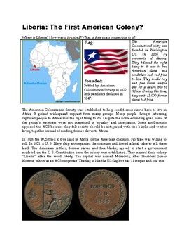Liberia: The First American Colony? (US History Reading Passage)