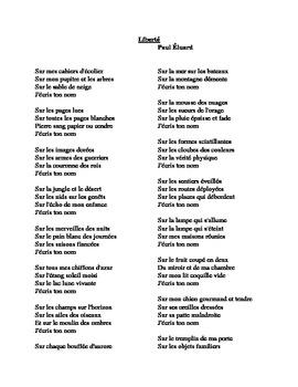 Liberté Poem by Paul Eluard