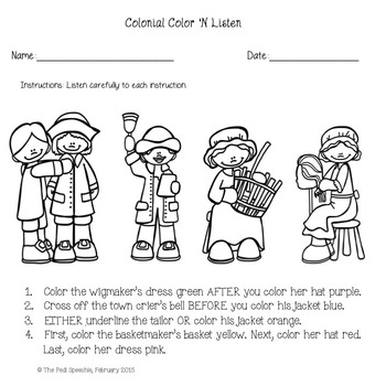 Speech and Language Activities   Colonial-themed