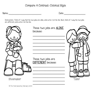 Colony Unit   Colonial America   Colonial Life   Compare and Contrast Worksheets