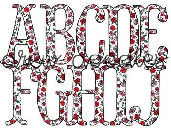 Liberty of London Inspired Floral Alphabet Digital Clip Art Set