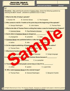 Liberty's Kids Companion Quizzes - Episode 12 - Common Sense