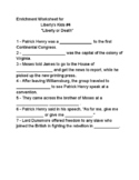 Liberty's Kids Enrichment Worksheet for #4 Liberty or Death
